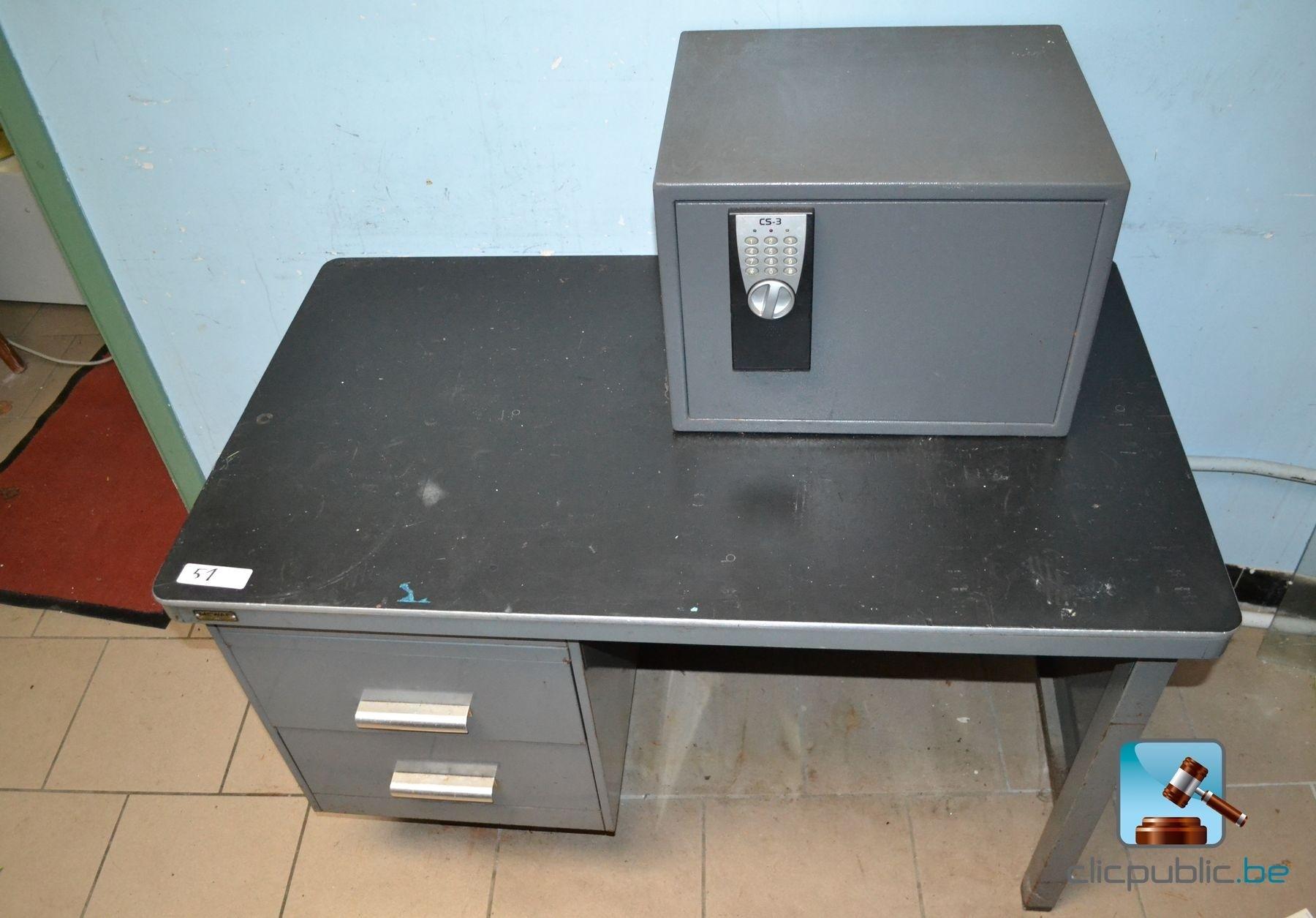 Mobilier de bureau bureau m tallique et coffre code for Mobilier bureau 51