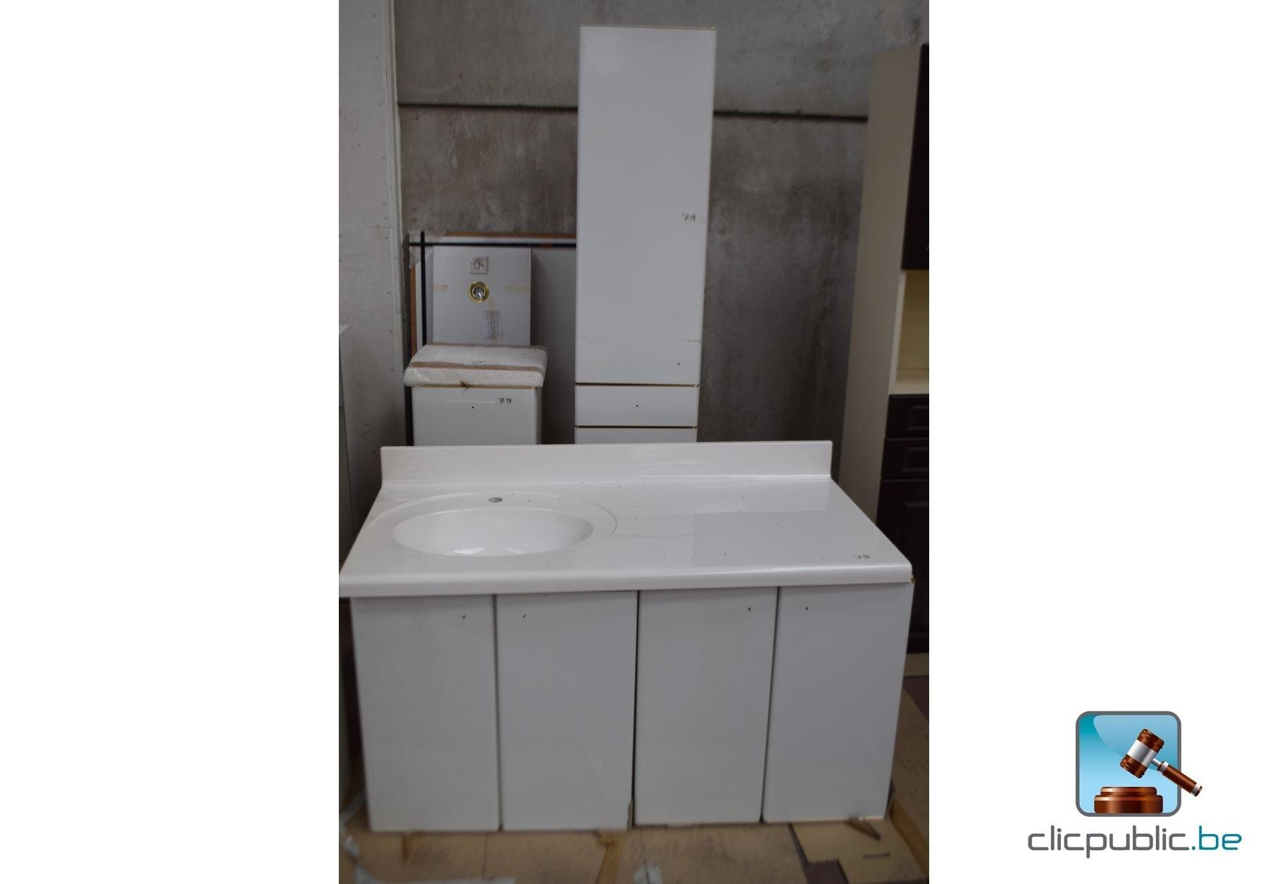 Meubles cuisine salle de bain finition blanc stratifi for Meuble cuisine stratifie