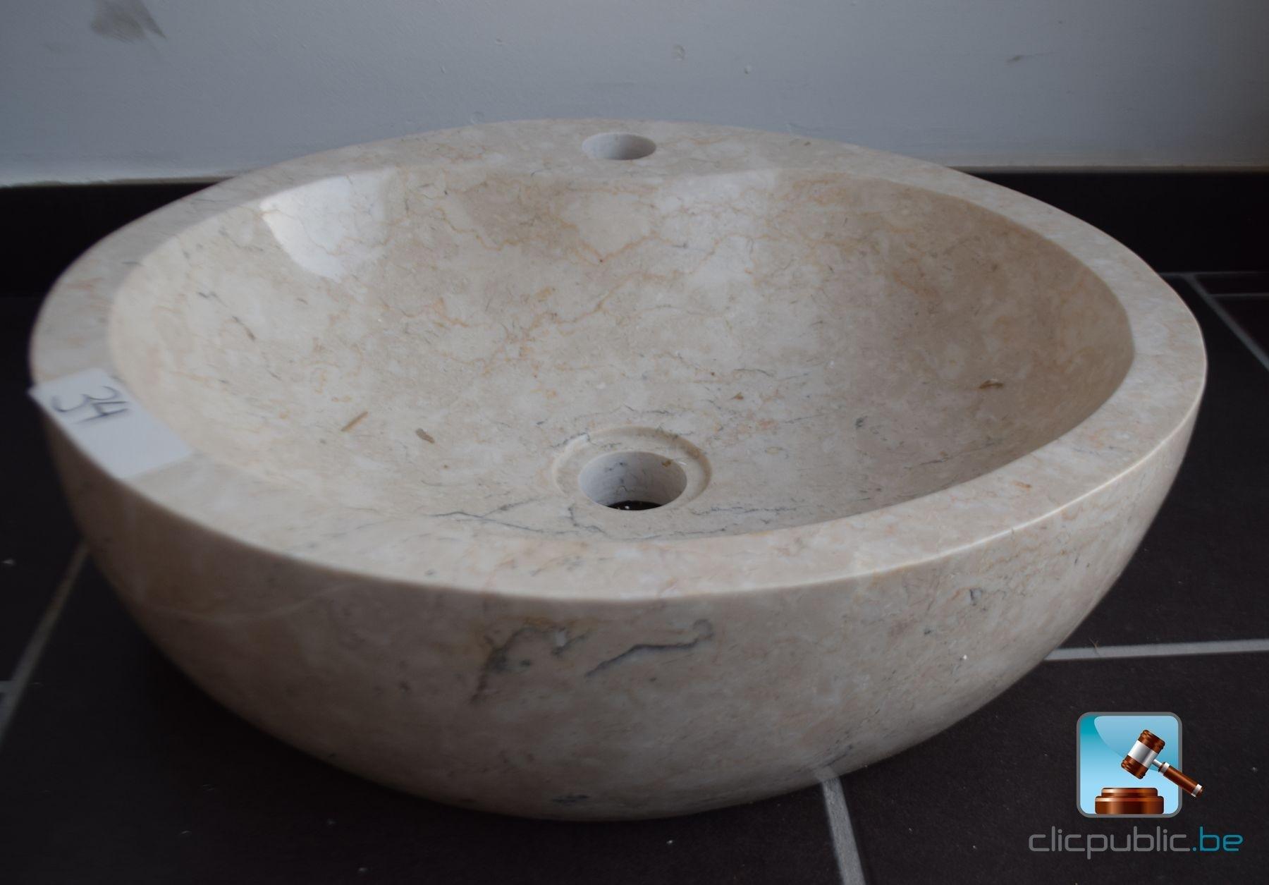 lavabo ovale en marbre beige ref 34 vendre sur. Black Bedroom Furniture Sets. Home Design Ideas