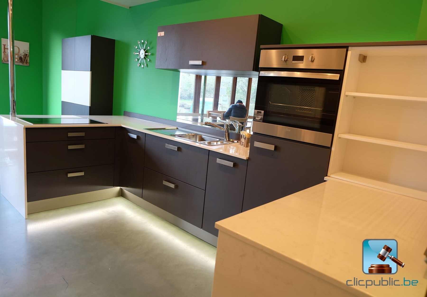 Cuisine quip e contemporaine decolegno anthracite en l for Cuisine equipee contemporaine