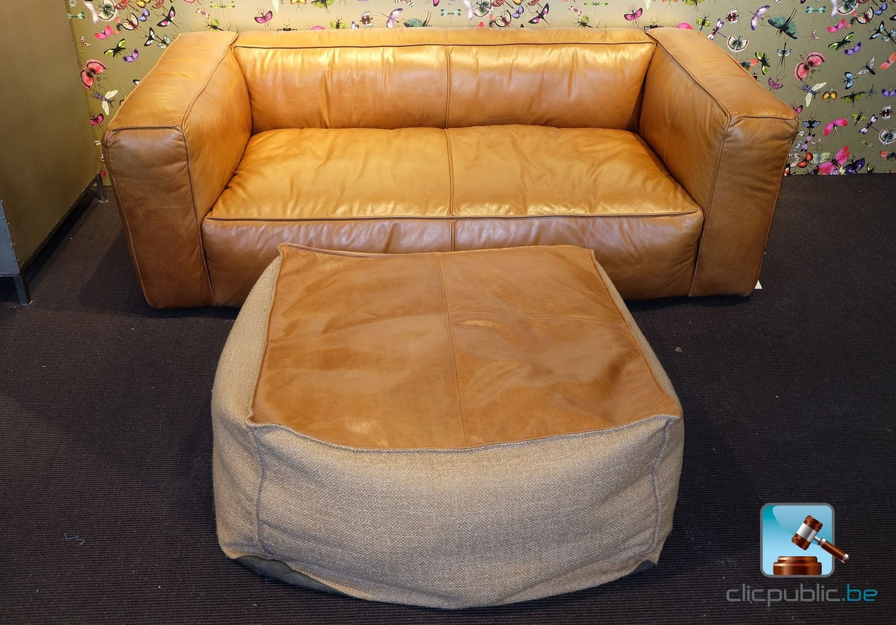 Canap 2 places lounge en cuir cognac de marque barak 39 7 for Canape marque